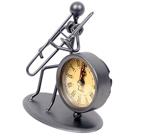 LD&P Metal Crafts Eisen Kunst Band Uhr Geschenk Set Bar Hausdekorationen Paar Geschenke,A,12cm*7cm*14cm