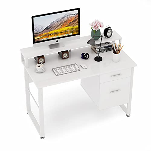Tribesigns 47 Inches Computer Desk with Hutch, Modern Writing Desk with 2 Drawers Storage, PC Laptop Study Table Workstation for Home Office (High Gloss White)