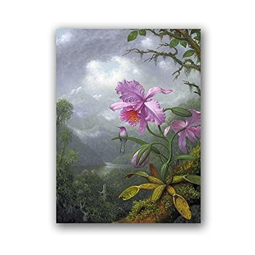 Impresión botánica antigua Orquídea rosa Selva Ilustración Cartel Vintage Arte de la pared Lienzo Pintura Colibrí Imagen Decoración-42x60 cmx1 Sin marco