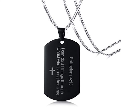PJ Jewelry Mens Stainless Steel Philippians 4:13 Cross Strength Bible Verse Military Dog Tag Pendant Necklace