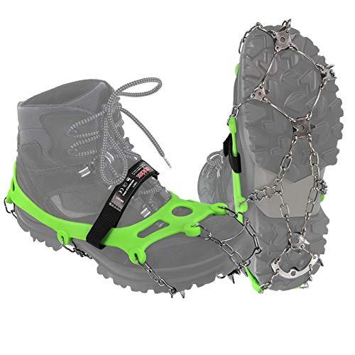 ALPIDEX Grödel Steigeisen für Bergschuhe mit Edelstahlspikes 21 Zähne Schuhkrallen Schuhspikes Crampons Klettern Bergsteigen Trail Running Winter Outdoor, Größe:XL, Farbe:Green