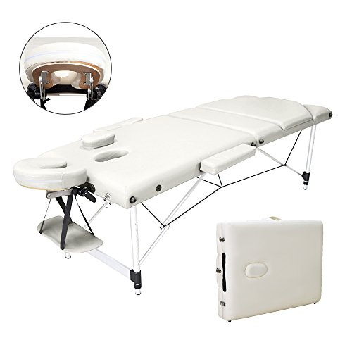 Vesgantti Portable Massage Bed Table - 3-Section Aluminium Foldable Beauty Couch for Reiki Therapy Treatment Salon Healing - Metal Headrest Support/with Carry Bag (Beige White)