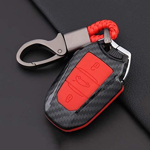 TGRFDE Smart Car Key Fob Cover Case Protección Completa Key Shell Skin Jacket con Llavero Llavero Apto para Peugeot 301405 2008 Fibra de Carbono Textura RojoRojo