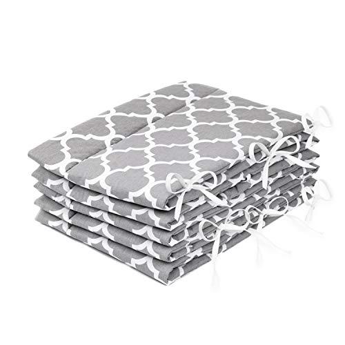 Amilian® Bettumrandung Nest Kopfschutz Nestchen 420x30cm, 360x30cm, 180x30 cm Bettnestchen Baby Kantenschutz Bettausstattung Indien Grau (420x30cm)