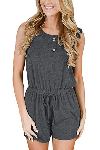 Hiistandd Women Summer Jumpsuit Casual Round Neck Sleeveless Jumpsuit Elastic Waist Solid/Stripe Tank Top with Pockets Gray