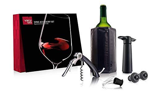 Vacu Vin Experience Lot de 6 Accessoires pour vin – Pompe à vin, Bec verseur, Couteau à Cave, Bouchon de Rechange