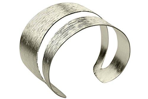 SILBERMOOS extravaganter Damen Armreif Armspange offen strukturiert gestreift mit diagonaler Aussparung massiv glänzend 925 Sterling Silber