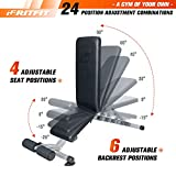 RitFit Adjustable/Foldable Utility Weight Bench for Home Gym, Weightlifting and Strength Training - Bonus Workout Poster with 35 Total Body Exercises (Upgraded Version)