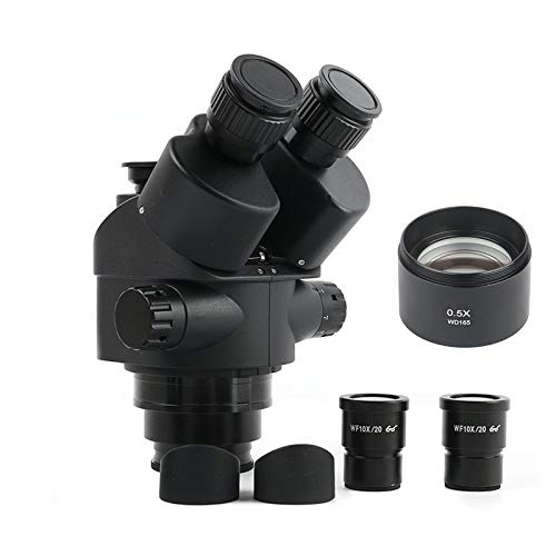 Z-LIANG Negro 7x-45x 3.5x-90x Microscopio trinocopio de Focal Simul Zoom Cabezal de microscopio estéreo + 0.5X 2.0X Lente Auxiliar (Color : 3.5X 45x Height165mm)