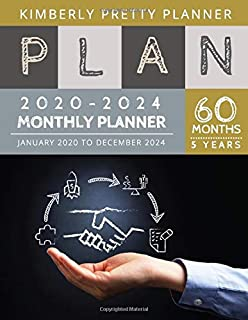 2020-2024 5 Year Monthly Planner: monthly planner 5 year | 60 Months Calendar Large size 8.5 x 11 2020-2024 planner, organizer and internet logbook (5 year monthly planner 2020-2024)