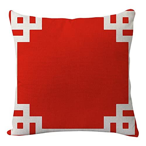 HNDXLHH Funda de cojín 45x45 Rojo Festivo Funda de Almohada Lino de Algodón Fundas Cojines Sofa para Sofá Cama Hogar Decorativo