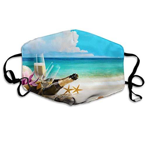 Coast Champagne Shells Botella Vástago lavable Máscara reutilizable, de algodón anti polvo media cara máscara de boca para niños, adolescentes, hombres y mujeres con bucles ajustables para los oídos