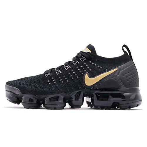 Nike W Air Vapormax Flyknit 2-942843-012 - Size W9.5 Black, Metallic Gold