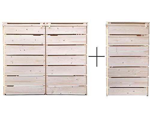 Lukadria Mülltonnenbox Mülltonnenverkleidung Mülltonnecontainer Holz Natur 120L - 240L mit Rückwand Alster (3 Tonnen)