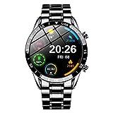 2021 Luxury Brand Mens Smart Watch Steel Band Fitness Watch Heart Rate Blood Pressure Activity Tracker Smart Watch for Men ( Color : Steel Strap Black )