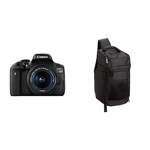 Canon EOS Rebel T6i Digital SLR with EF-S 18-55mm IS STM Lens - Wi-Fi Enabled + Free AmazonBasics Sling Backpack for SLR Cameras