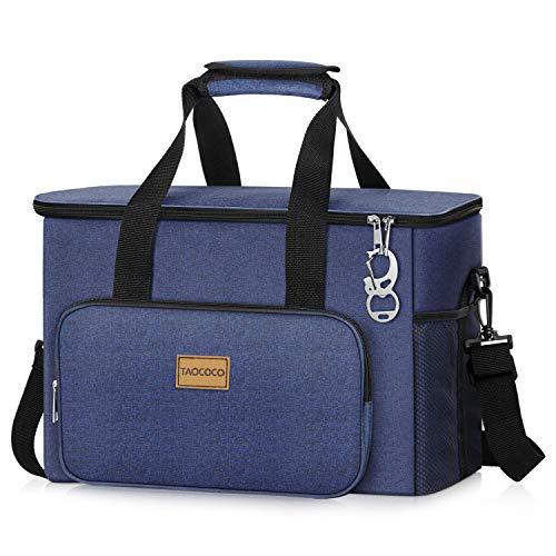 TAOCOCO Kühltasche 30L Picknicktasche faltbar Eistasche Mittagessen Isoliertasche Lunchtasche für Büro Camping, Beach Auto Outdoor Reisen (Blau)
