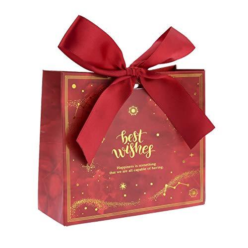 Flowow - 50 bolsas de regalo con diseño de flores rojas, 11,5 x 4,5 x 10 cm