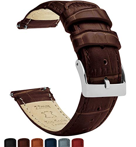 20mm Coffee Brown - Standard Length - BARTON Alligator Grain - Quick Release Leather Watch Bands