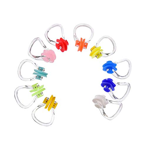 ABOOFAN Lot de 10 pince-nez réutilisables en silicone souple et confortable pour la natation, le surf, la plongée, la natation pour adultes et enfants (couleur aléatoire)