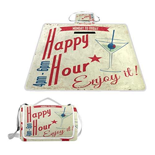 XINGAKA Picknickdecke,Bier Retro Vintage Happy Hour Drink Typografisches Essen Abstrakte Cocktailparty Bar Word Pub,Outdoor Stranddecke wasserdichte sanddichte tolle Picknick Matte