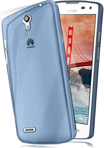 moex Aero Hülle kompatibel mit Huawei Ascend G610 - Hülle aus Silikon, komplett transparent, Klarsicht Handy Schutzhülle Ultra dünn, Handyhülle durchsichtig einfarbig, Blau