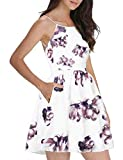 FANCYINN Women's Floral Print Short Dress Spaghetti Strap Backless Mini Skate Dress Floral Pink M