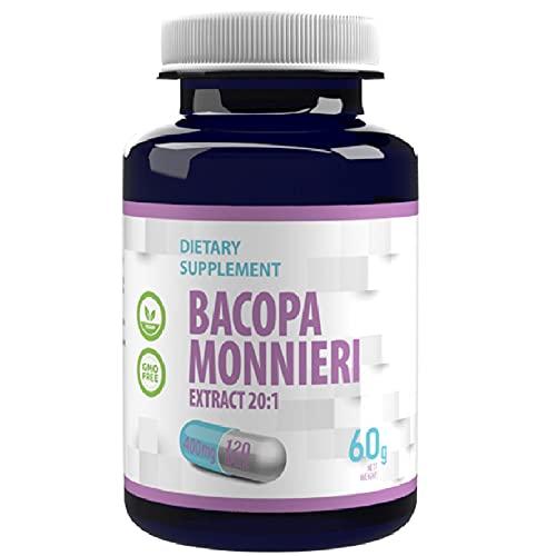 Bacopa Monnieri Brahmi Extracto 8000mg Equivalente (400mg de 20:1 Extracto) 120 Capsulas Veganas, Alta Fuerza, Sin Rellenos o Bulkers, Libre de Gluten, GMO