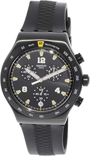 Swatch Chrononero YVB405 Reloj deportivo de cuarzo de caucho negro para hombre