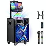Karaoke Machine for Adults & Kids, VeGue Wireless Portable Karaoke Speaker with 2 UHF Wireless Microphones, Disco Ball, Ideal for Home Karaoke, Singing Party, Church (VS-1088)