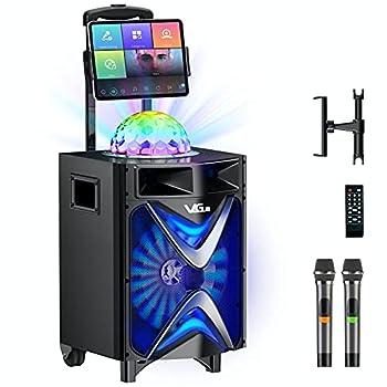 Karaoke Machine for Adults & Kids VeGue Wireless Portable Karaoke Speaker with 2 UHF Wireless Microphones Disco Ball Ideal for Home Karaoke Singing Party Church  VS-1088