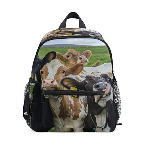 Kids Backpack Four Funny Cows Lookin Farm- Print School Bags Boy Girl Daypack