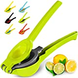 Top Rated Zulay Premium Quality Metal Lemon Lime Squeezer - Manual Citrus Press Juicer (Gray and Lime Green)