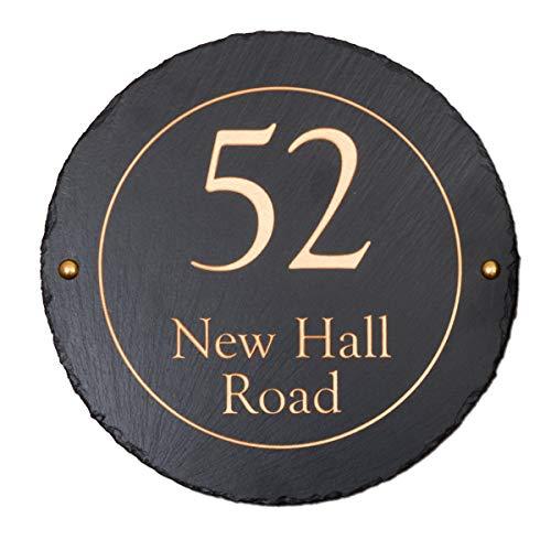 Signs & Numbers Rústico redondo Slate casa señal de 30cm de diámetro, personalizable con su dirección–gastos de envío gratis en UK