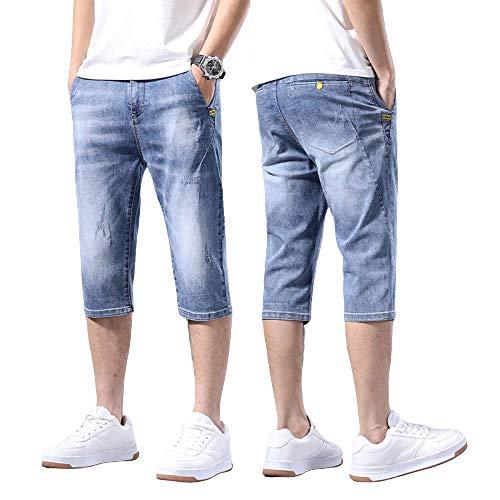 Jeans de Hombre Verano Sección Delgada Pantalones Cortos de Mezclilla Delgados Pantalones recortados Moda Caballo Salvaje Casual