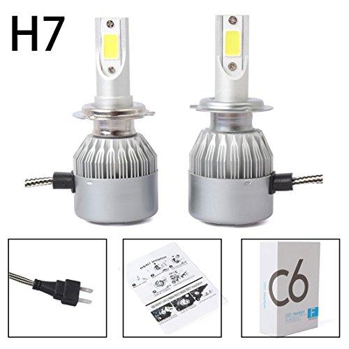 TOOGOO Nuevo 2pzs C6 LED Kit de faros de coche COB H7 36W 7600LM bombillas de luz blanca