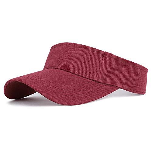 Sombrero De Protección Solar De Algodón Primavera Verano Deportes Mujeres Ajustable Protección UV-Vino Tinto