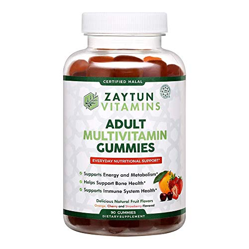 Zaytun Vitamins Halal Adult Multivitamin Gummies for Men, Women, Complete Nutritional Support with Biotin, Vitamin A, C, D, B6, Natural Fruit Flavors, Non-GMO, 90 Gummies, Made in USA, Halal Vitamins