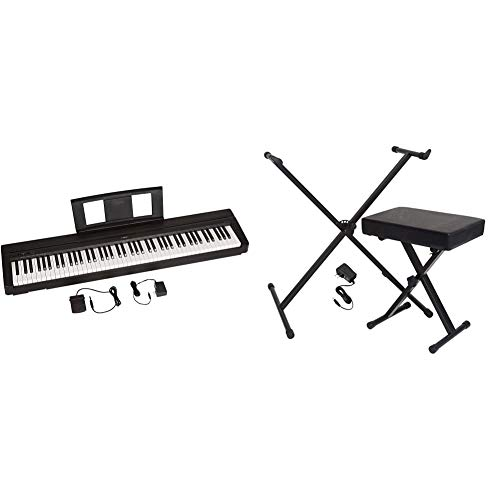YAMAHA P71 88-Key Weighted Action Digital Piano With Sustain Pedal And Power Supply (Amazon-Exclusive) & Portable Keyboard Accessory Pack with Stand, Bench and Power Supply