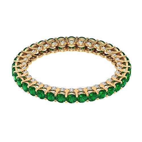 Anillo de compromiso con esmeralda envejecida de 1,36 ct, anillo de boda de diamante de 1/4 ct, anillo de eternidad de gemas certificadas, 14K Oro amarillo, Size:EU 47