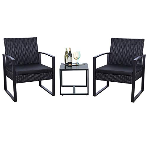 Flamaker Three Piece Black Wicker Patio Furniture