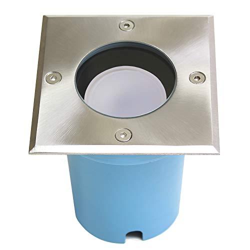 Spot LED encastrable, Spot de sol Entrada, GU10, IP65 W, carré, acier inoxydable brossé et véritable verre mat - 230 V Moderne Sans éclairage