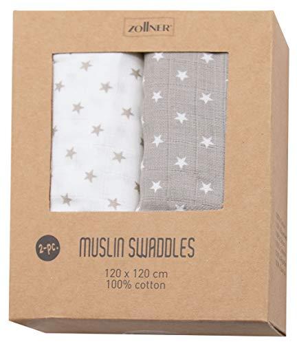 ZOLLNER 2er Set Pucktücher Sterne, 100% Baumwolle, grau weiß, ca. 120x120 cm