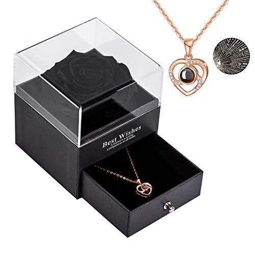 Yamonic echte Rose mit Liebe Sie Halskette Schmuck Geschenk Box-Handmade Eternal Real Rose zum Valentinstag Muttertag Jubiläum Hochzeit Geburtstag romantische Geschenke für Sie, Schwarz