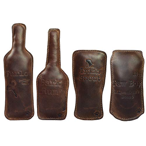 Hide & Drink, Leather Dog Chew Toys (4 Pieces) / Drinks Chew Toy for Dogs / Durable Pet Toy, Handmade :: Bourbon Brown