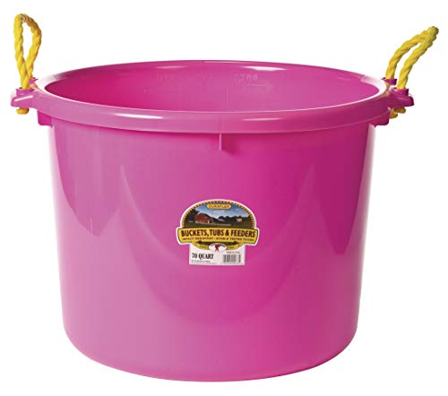 Little Giant Plastic Muck Tub (Hot Pink) Durable & Versatile Utility Bucket with Handles (70 Quart) (Item No. PSB70HOTPINK)