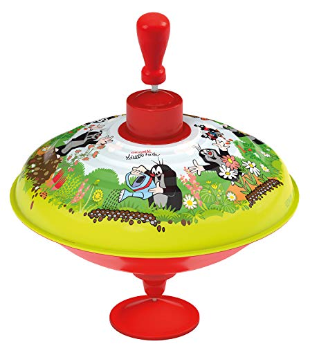 Lena 52249 Der Kleine Maulwurf Brummkreisel Ø19 cm, Metall Kreisel, Schwungkreisel aus Blech, klassischer Pumpkreisel, Blechkreisel mit Spitze, Spielzeugkreisel für Kinder ab 18 Monate