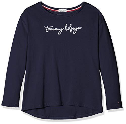 Tommy Hilfiger Sequins Graphic Tee L/s Maglia a Maniche Lunghe, (Blue Cbk), 140 (Taglia Produttore: 10) Bambina