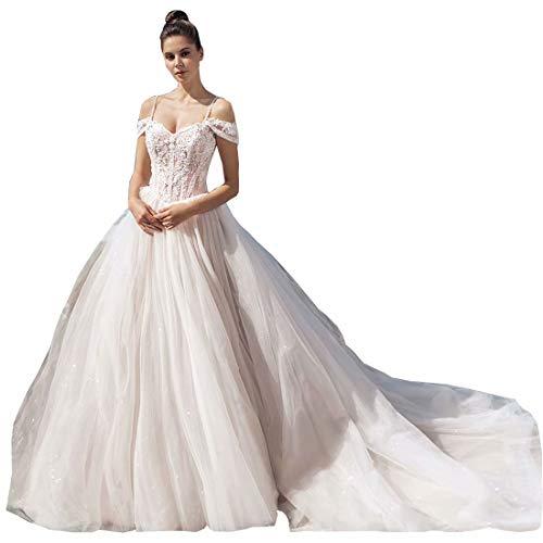 HuiSiDa Women's Lace Beading Wedding Dress Off Shoulder Spaghetti Straps Princess Bridal Ball Gowns Train Ivory US4