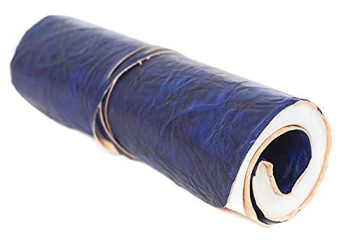 INDIARY Ledernotizbuch Künstlerrolle - blau - gerolltes Buch aus echtem Leder und handgeschöpftem Papier